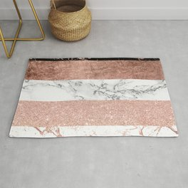 Modern chic color block rose gold marble stripes pattern Rug