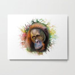 An Orangutan Watercolor Portrait Metal Print