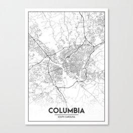 Minimal City Maps - Map Of Columbia, South Carolina, United States Canvas Print
