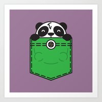 pocket Art Prints featuring Pocket Panda by Steven Toang