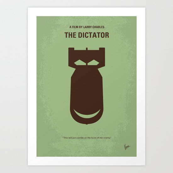 No212 My The Dictator minimal movie poster Art Print