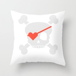 Skull Heart Valentines Day Pirate Flag Throw Pillow