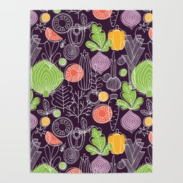 Vegetable Pattern Scandinavian Design Poster