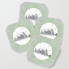 Philadelphia, Pennsylvania City Skyline Illustration Drawing Coaster
