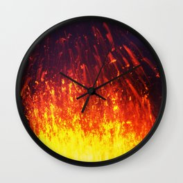 Eruption volcano - fountain, fireworks lava erupting from crater Wall Clock