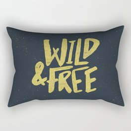 Wild and Free x Gold and Navy Rectangular Pillow