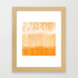 Frosted Winter Branches in Dusty Orange Framed Art Print