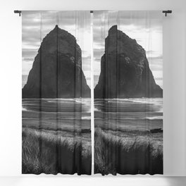 Cannon Beach Sunset - Black and White Nature Photography Blackout Curtain