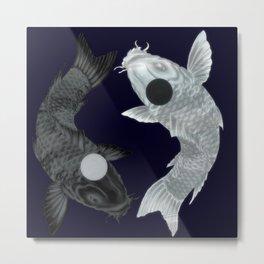 Yin Yang Koi Metal Print