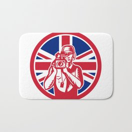 British Cameraman Union Jack Flag Icon Bath Mat