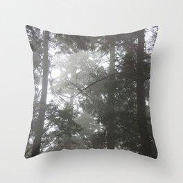 Foggy trees Throw Pillow