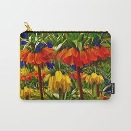COFFEE BROWN YELLOW & ORANGE CROWN IMPERIALS GARDEN Carry-All Pouch