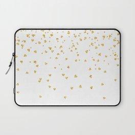 Falling hearts gold glitter confetti - Heart Love Valentine Laptop Sleeve
