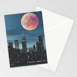 New York City Blood Moon Skyline Stationery Cards