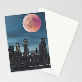 New York City Blood Moon Skyline Stationery Cards