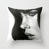 hair Throw Pillows featuring Girl by BlackNYX