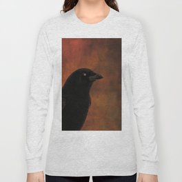 Crow Portrait In Black And Orange Long Sleeve T-shirt