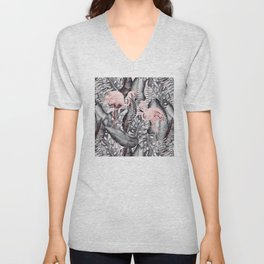 Flamingo Love - Watercolor Birds in Pink and Gray color Unisex V-Neck
