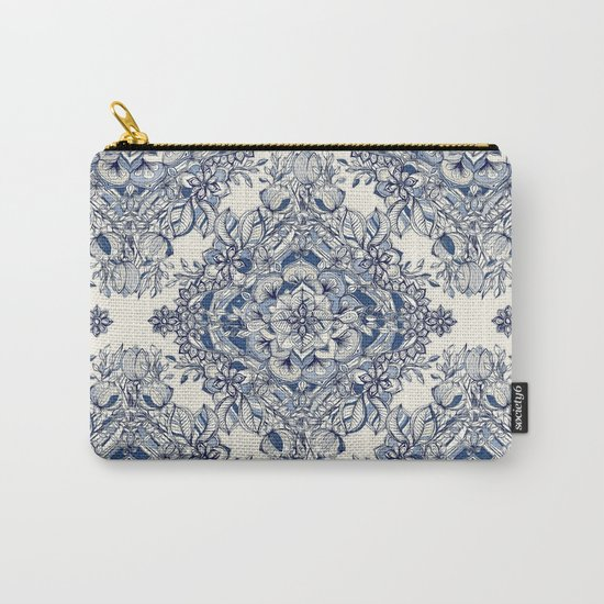 Floral Diamond Doodle in Dark Blue and Cream Carry-All Pouch
