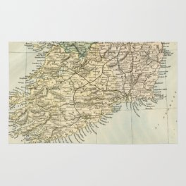 Vintage and Retro Map of Southern Ireland Rug