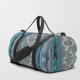Teal, Aqua & Grey Vintage Bohemian Wallpaper Stripes Duffle Bag