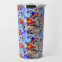 Watercolor Bright Floral Travel Mug