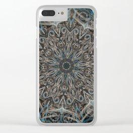 Smoke Swirl Blue Mandala Clear iPhone Case
