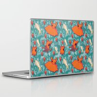 dumbo Laptop & iPad Skins featuring Dumbo Octopi & Squid - Blue by Amy Jeanne WPG
