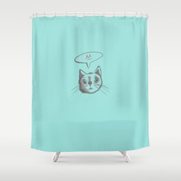 The Cat Says Mu (Blue) Shower Curtain
