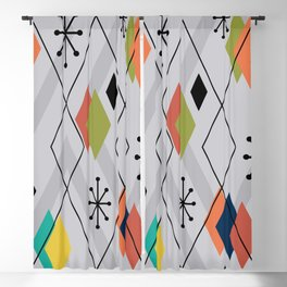 Mid Century Modern Scattered Diamonds Gray Multicolored Blackout Curtain