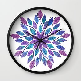 Leaf Mandala - Jewel Tones Wall Clock