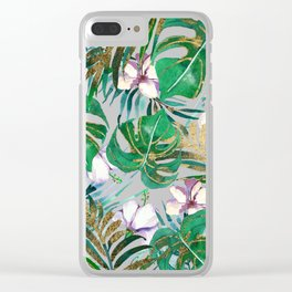 Tropical forest green lilac gold monster leaves floral Clear iPhone Case