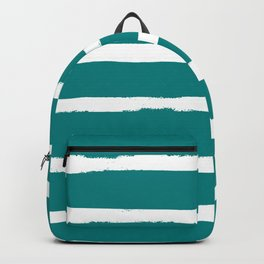 White and Teal Stripes Backpack