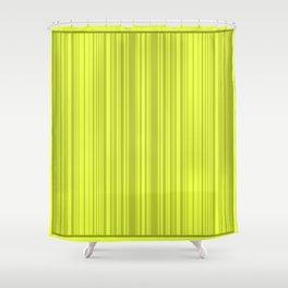 Lemon green striped pattern. Shower Curtain