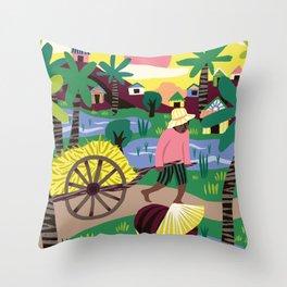 Ricefields Cambodia Throw Pillow
