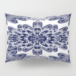 Blue Floral Damask Pillow Sham