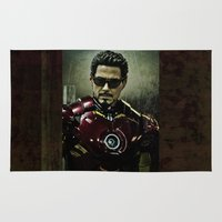 tony stark Area & Throw Rugs featuring Tony Stark in Iron man costume  by romar