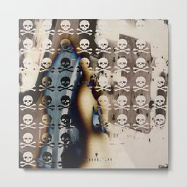 Overhead Skull and XBones: Shadow Burn Metal Print