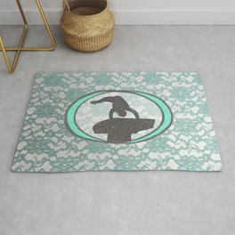 Gymnastics Beam Lace Collection in Mint and Silver Design Rug