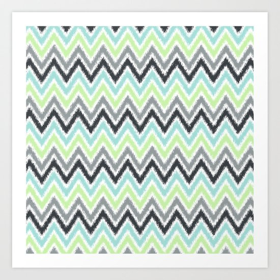Lime Mint and Gray Zigzags Art Print