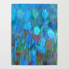 Field of Flowers Moon Glow Poster