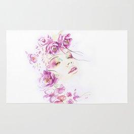 Girl with Flower Crown Watercolor lavender pink peonies Rug