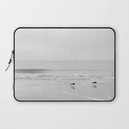 Beach birds | European beach | waves | the Netherlands | Zeeland | Holland | ocean photography | travel photography | black and white | b-w print | beach | water | travel print | art print Laptop Sleeve