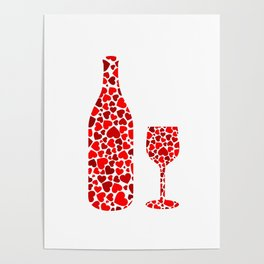 A potion of love- bottle and glass with red hearts Poster