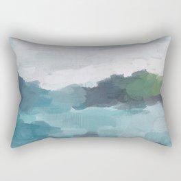 Aqua Blue Green Abstract Art Painting Rectangular Pillow