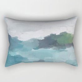 Aqua Blue Green Abstract Art Painting Rectangular Pillow
