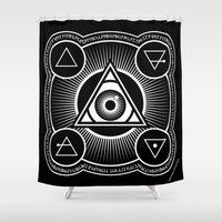 alchemy Shower Curtains featuring The 4 Elements in Alchemy by JaymesGraphics