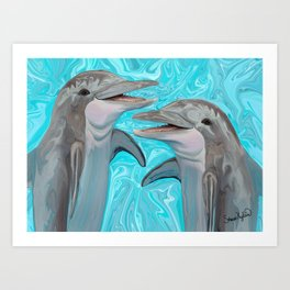 Dolphin Chatter Art Print