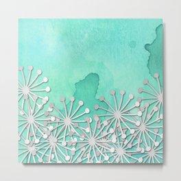watercolor floral in mint dp033-4 Metal Print