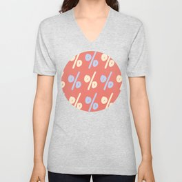 Lettering Percent Sign Pattern Unisex V-Neck